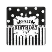 Teller klein Happy Birthday Schwarz / Weiss Geburtstag Partydeko Chalkboard